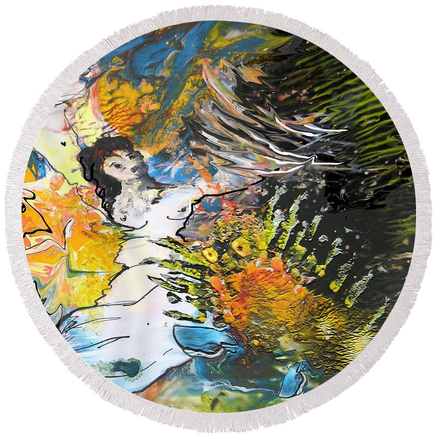 Miki Round Beach Towel featuring the painting Erotype 07 2 by Miki De Goodaboom