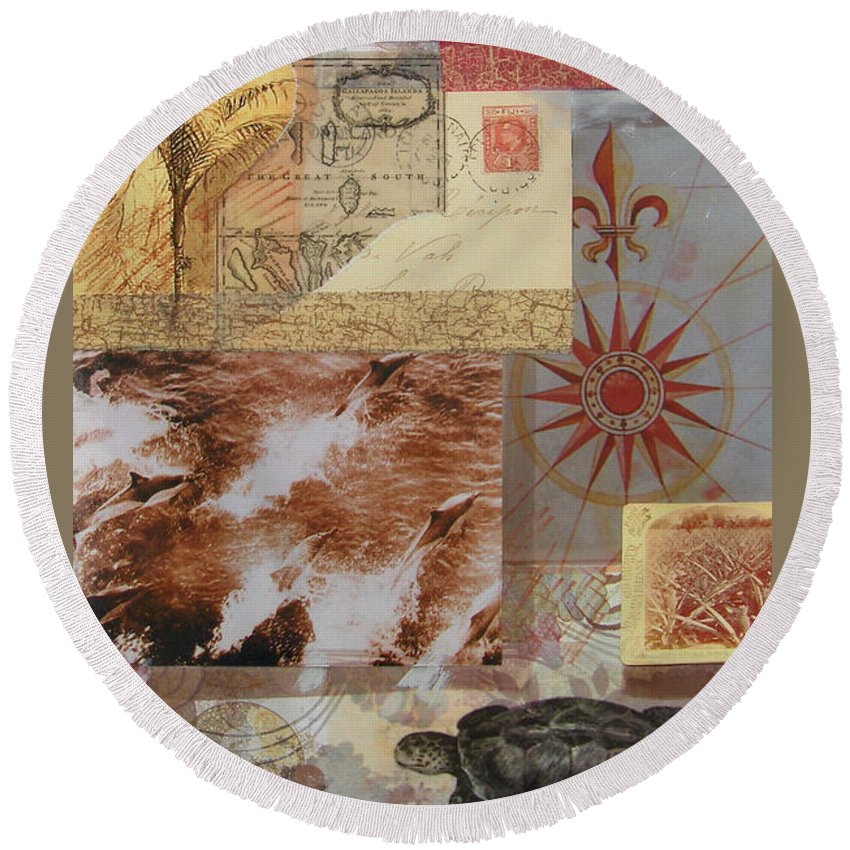 Travel Round Beach Towel featuring the mixed media Escape And Explore IIi by Leigh Banks