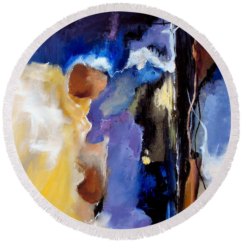 Abstract Round Beach Towel featuring the painting Escape Attempt by Ruth Palmer