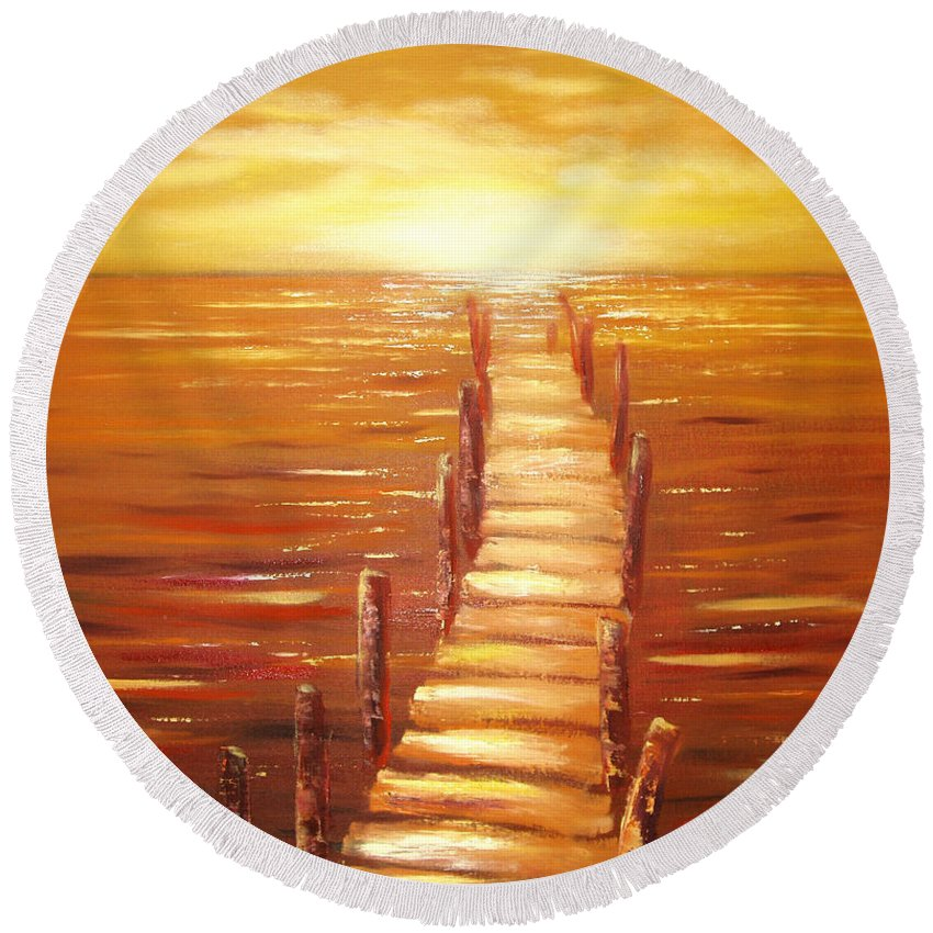 Sunset Original Painting Gold Yellow Red And Orange Colors Art By Gina De Gorna Seascape Round Beach Towel featuring the painting Escape by Gina De Gorna