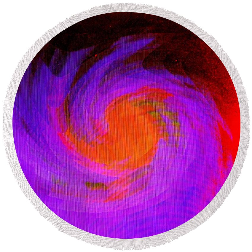 Abstract Round Beach Towel featuring the digital art Escape by Ian MacDonald