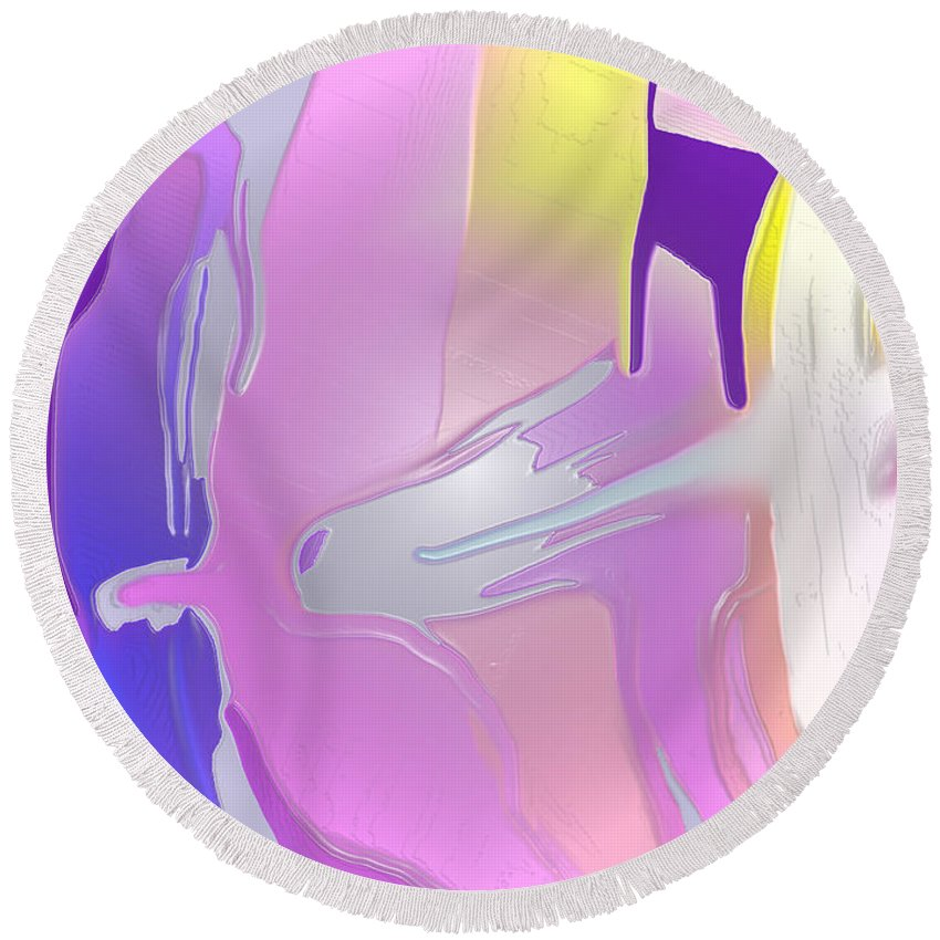 Abstract Round Beach Towel featuring the digital art Escaping Rigidity by Ian MacDonald