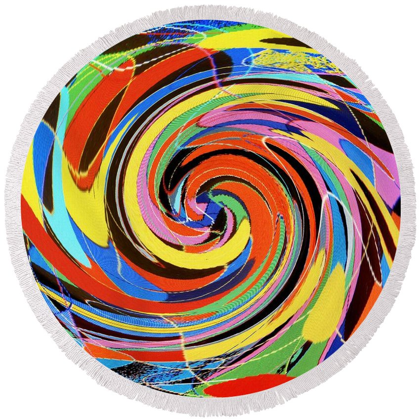 Round Beach Towel featuring the digital art Escaping The Vortex by Ian MacDonald