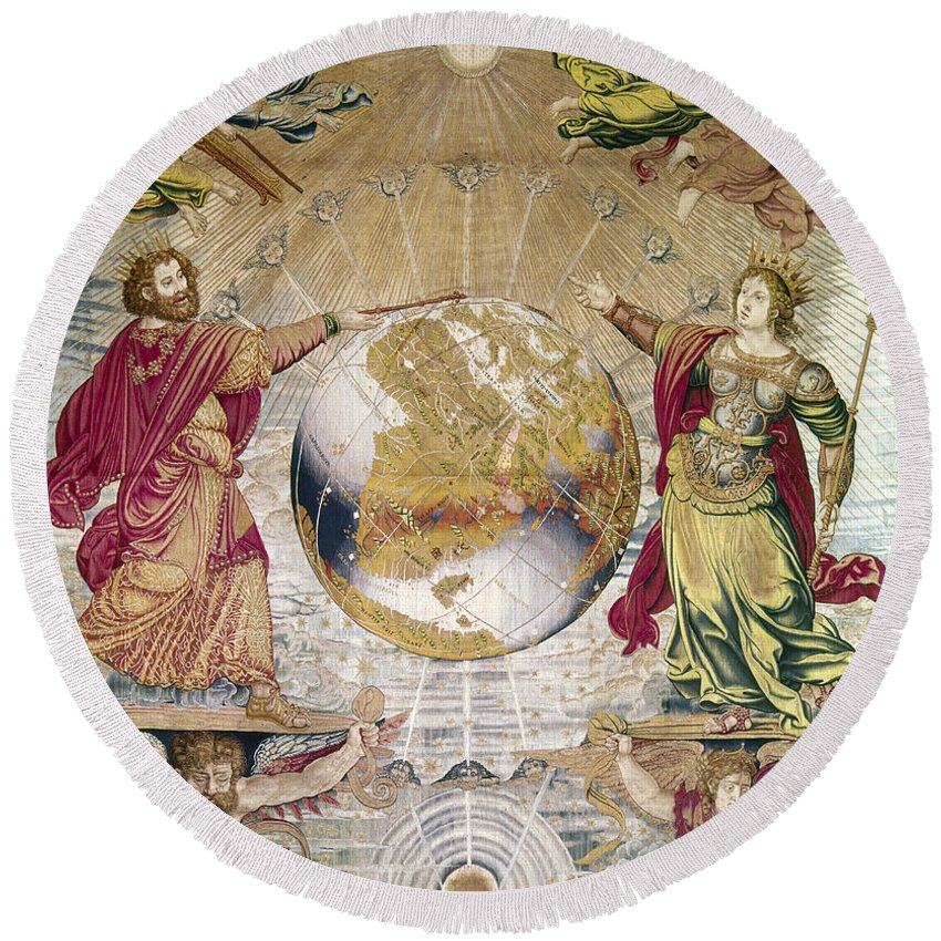 16th Century Round Beach Towel featuring the photograph Escorial: Tapestry by Granger