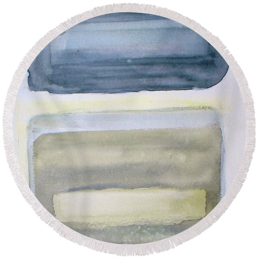 Abstract Round Beach Towel featuring the painting Esmeralda by Vesna Antic