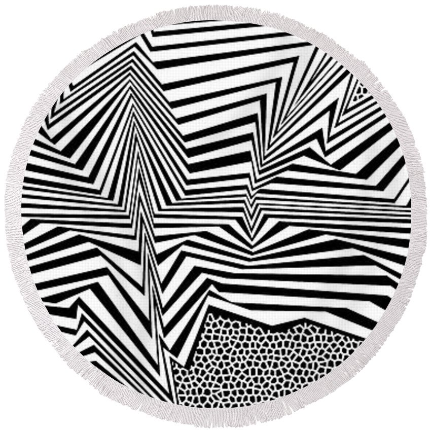 Dynamic Black And White Round Beach Towel featuring the painting Esolcos by Douglas Christian Larsen