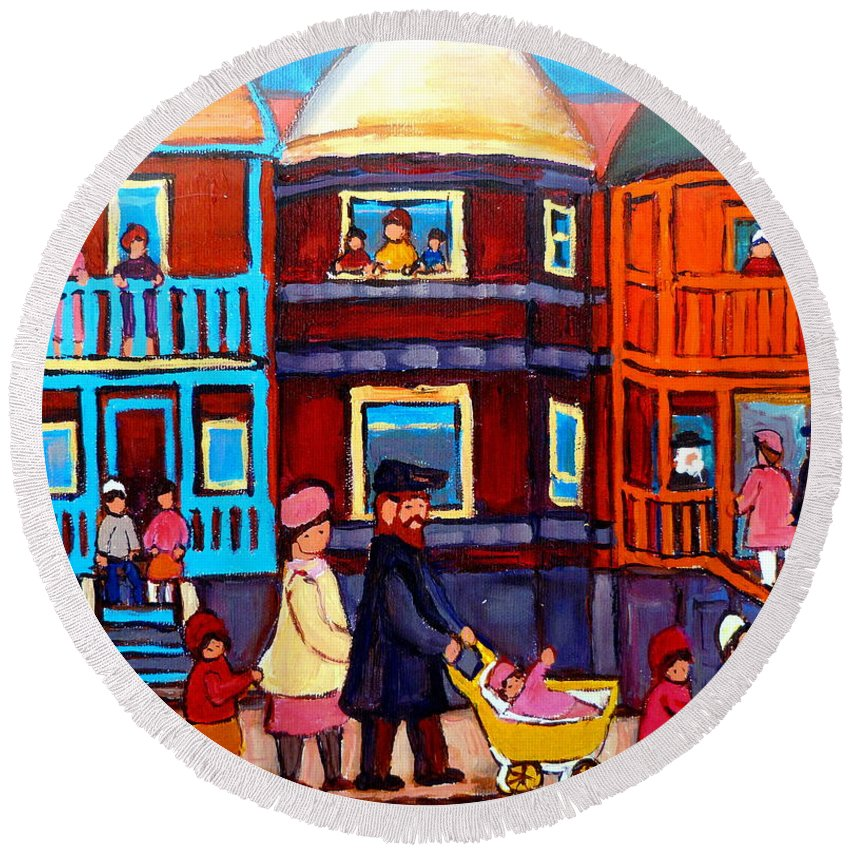 Esplanade Street Round Beach Towel featuring the painting Esplanade Street Sabbath Walk by Carole Spandau