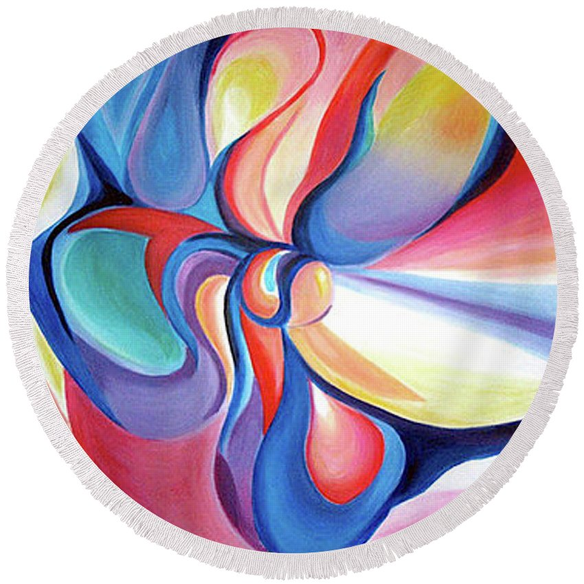Abstract Round Beach Towel featuring the painting Essence by Anna Lobsanova