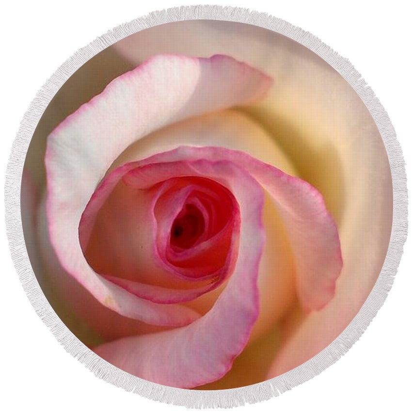 Rose Round Beach Towel featuring the photograph Essence by LKB Art and Photography