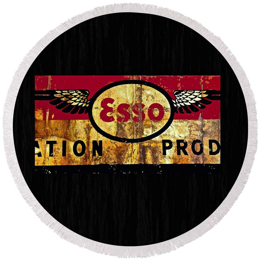 Esso Round Beach Towel featuring the painting Esso Circa 1920's by Saundra Myles