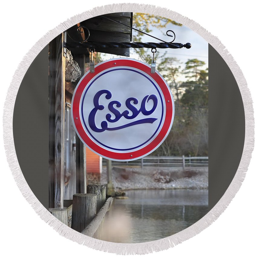 Terry D Photography Round Beach Towel featuring the photograph Esso Sign by Terry DeLuco