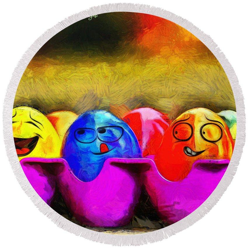 Ester Round Beach Towel featuring the painting Ester Eggs - Pa by Leonardo Digenio