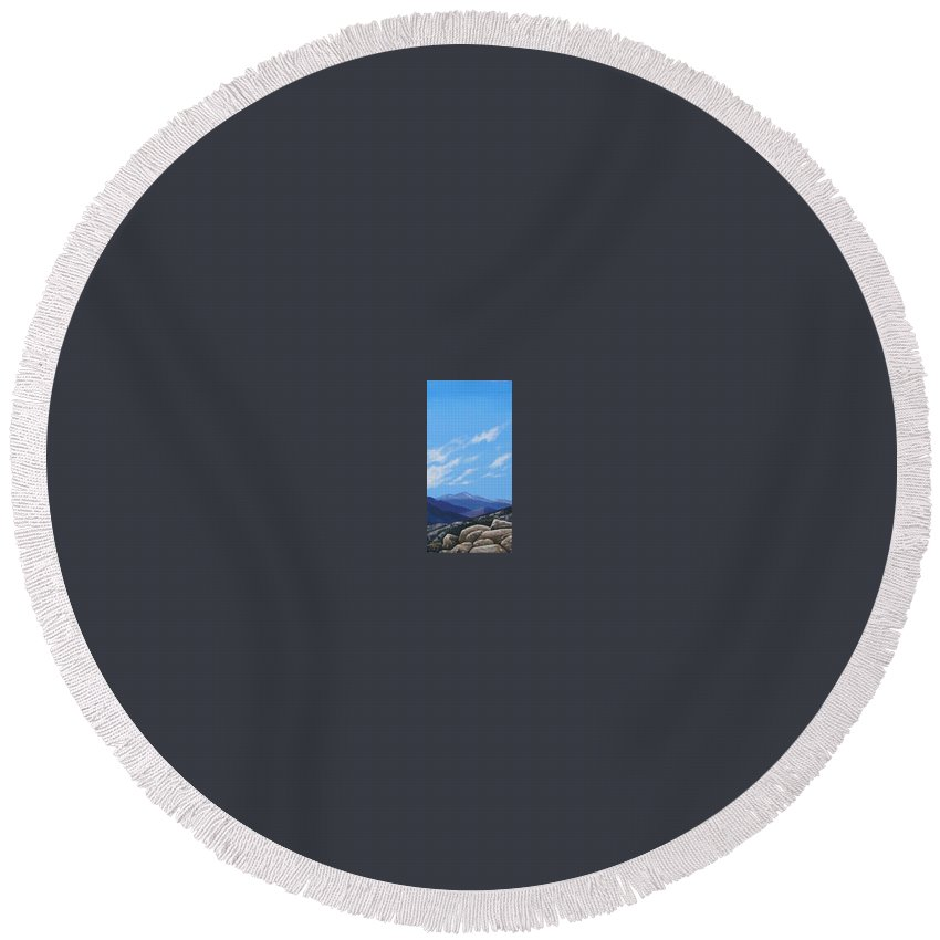 Estes Park Round Beach Towel featuring the painting Estes Overlook by Hunter Jay