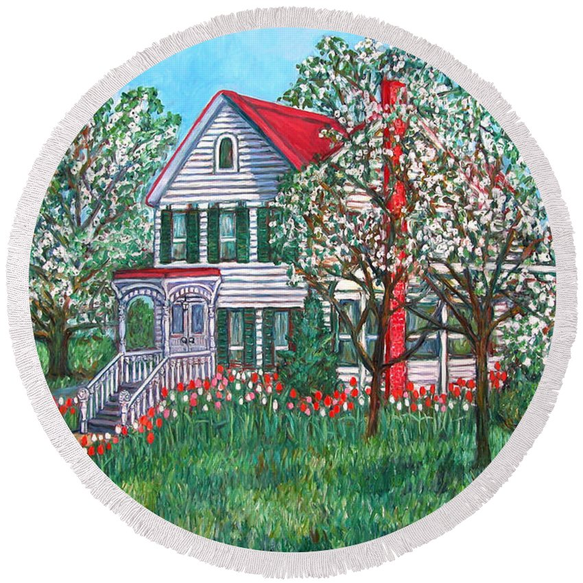 Home Round Beach Towel featuring the painting Esther's Home by Kendall Kessler