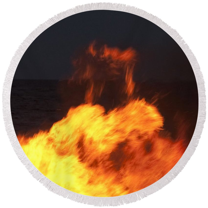 Fire Round Beach Towel featuring the photograph Eternal Life by Steven Natanson