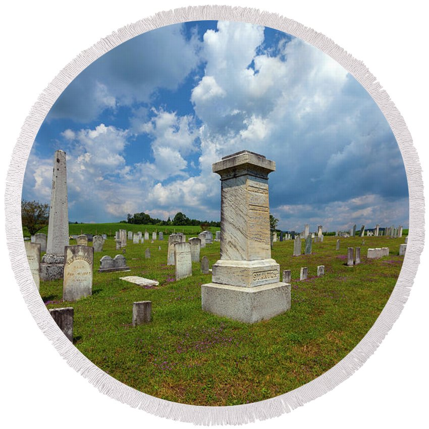 Cemetery Round Beach Towel featuring the photograph Eternal Resting by Wayne Dion