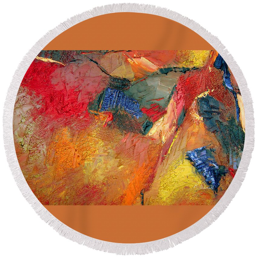 Abstract Round Beach Towel featuring the painting Eternally Rich by Ruth Palmer