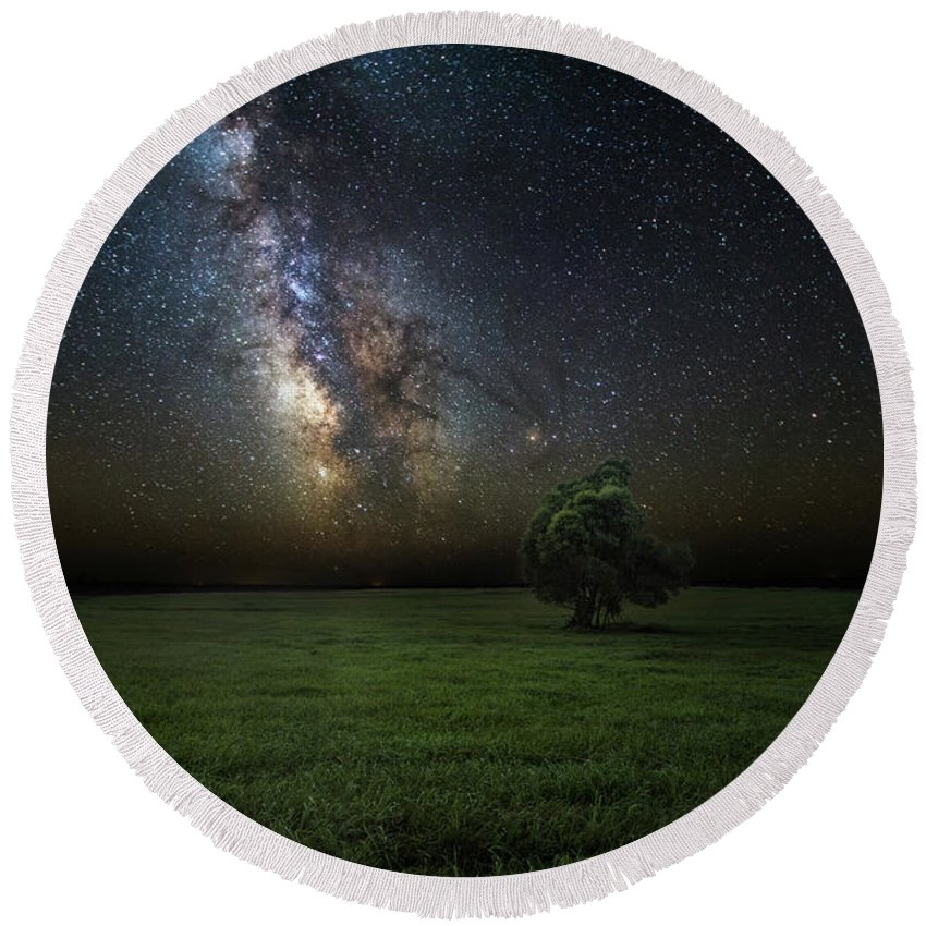 Milky Way Round Beach Towel featuring the photograph Eternity by Aaron J Groen