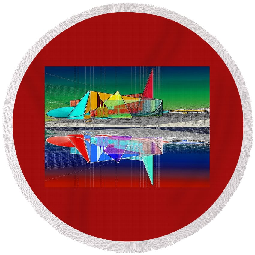 Cathedral Round Beach Towel featuring the digital art Ethereal Reflections by Don Quackenbush