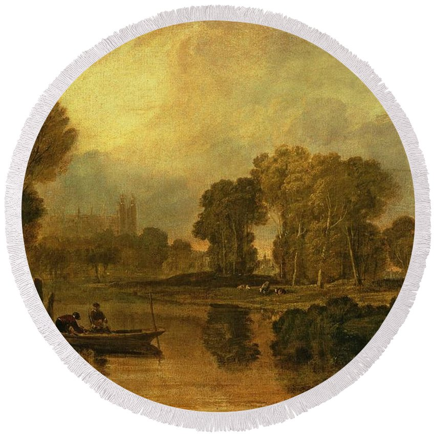 Eton Round Beach Towel featuring the painting Eton College From The River by Joseph Mallord William Turner