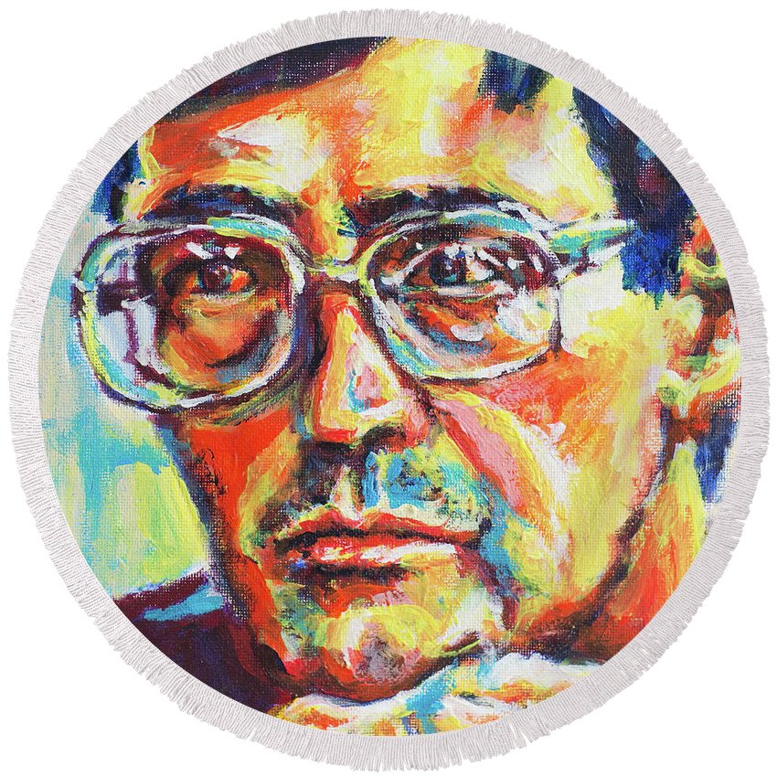 Eugene Round Beach Towel featuring the painting Eugene by Larry Ger