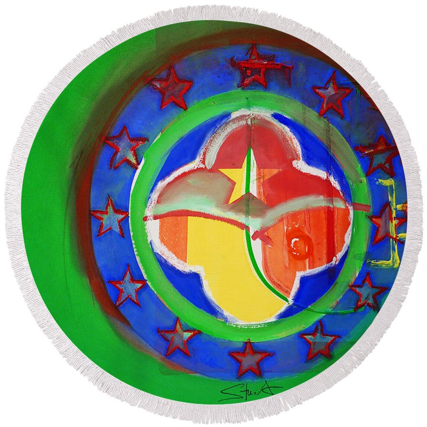 Symbol Round Beach Towel featuring the painting Euromarine by Charles Stuart