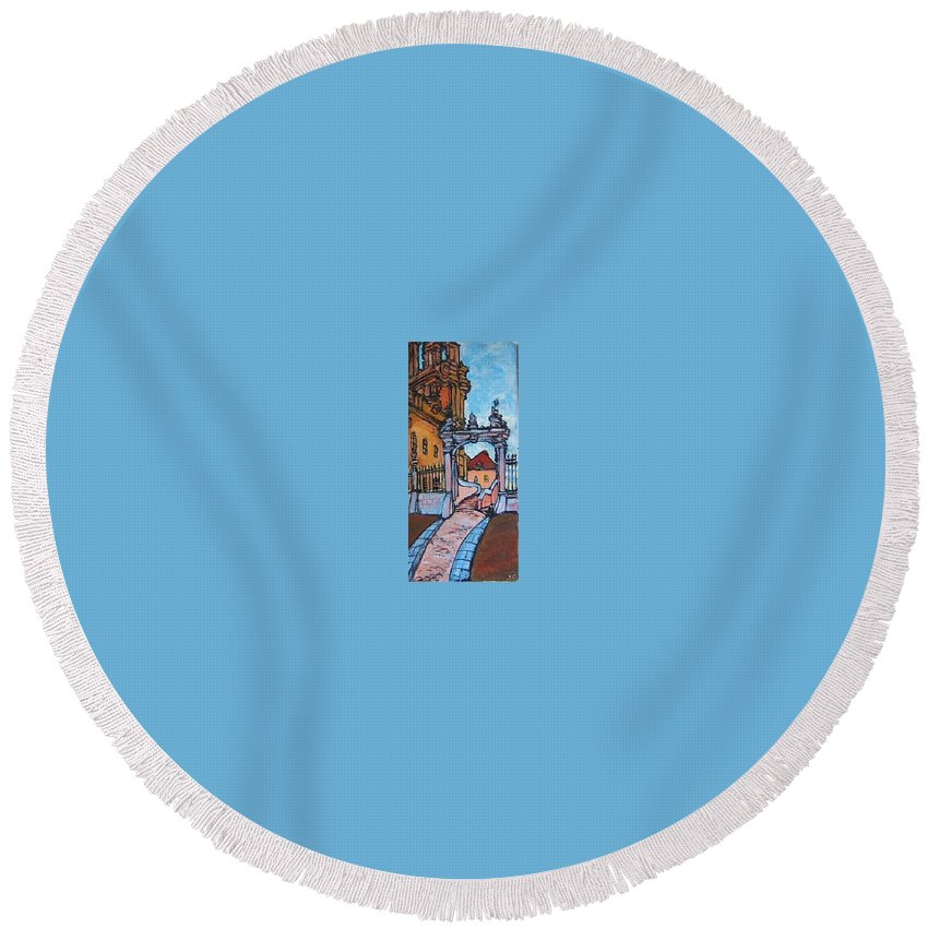 Church Round Beach Towel featuring the painting Europe Church by Todd Artist