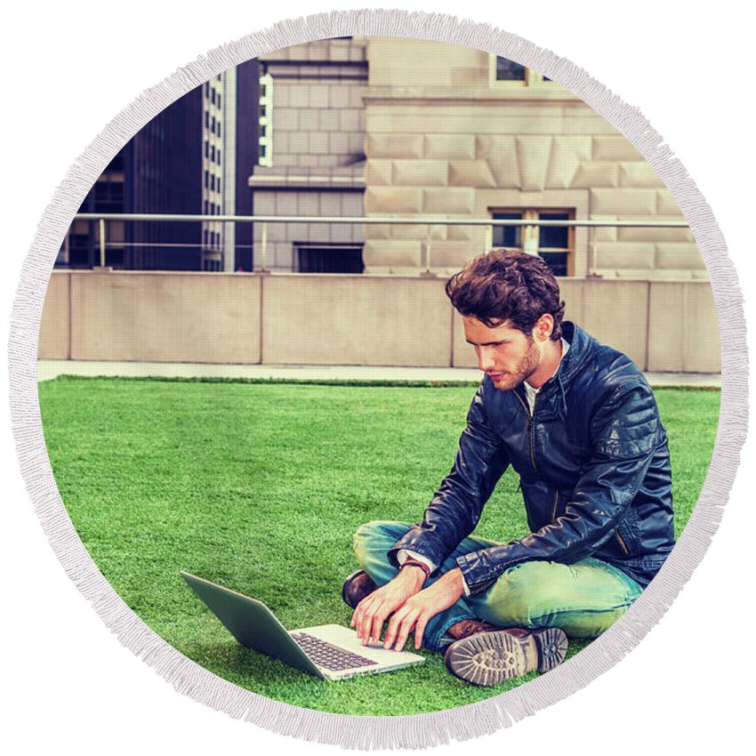 Man Round Beach Towel featuring the photograph European Graduate Student Studying In New York by Alexander Image