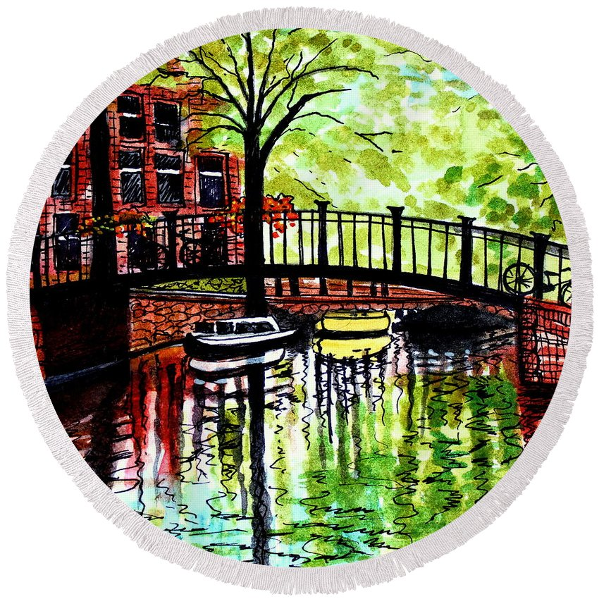 Landscape Round Beach Towel featuring the painting European Travels by Elizabeth Robinette Tyndall