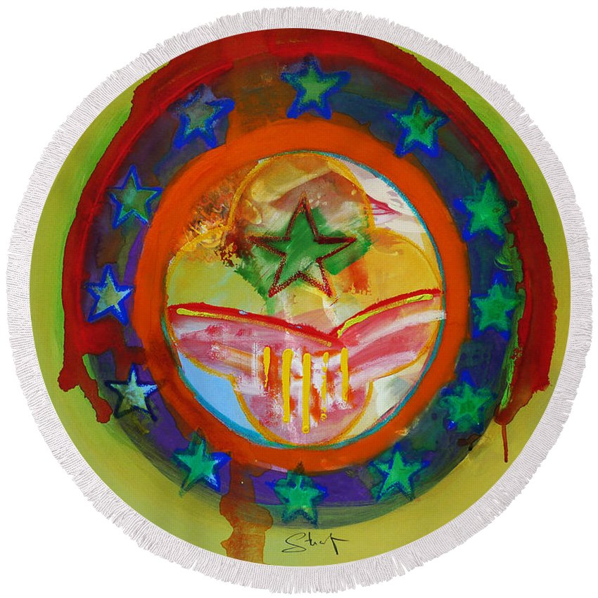 Round Beach Towel featuring the painting European Union by Charles Stuart