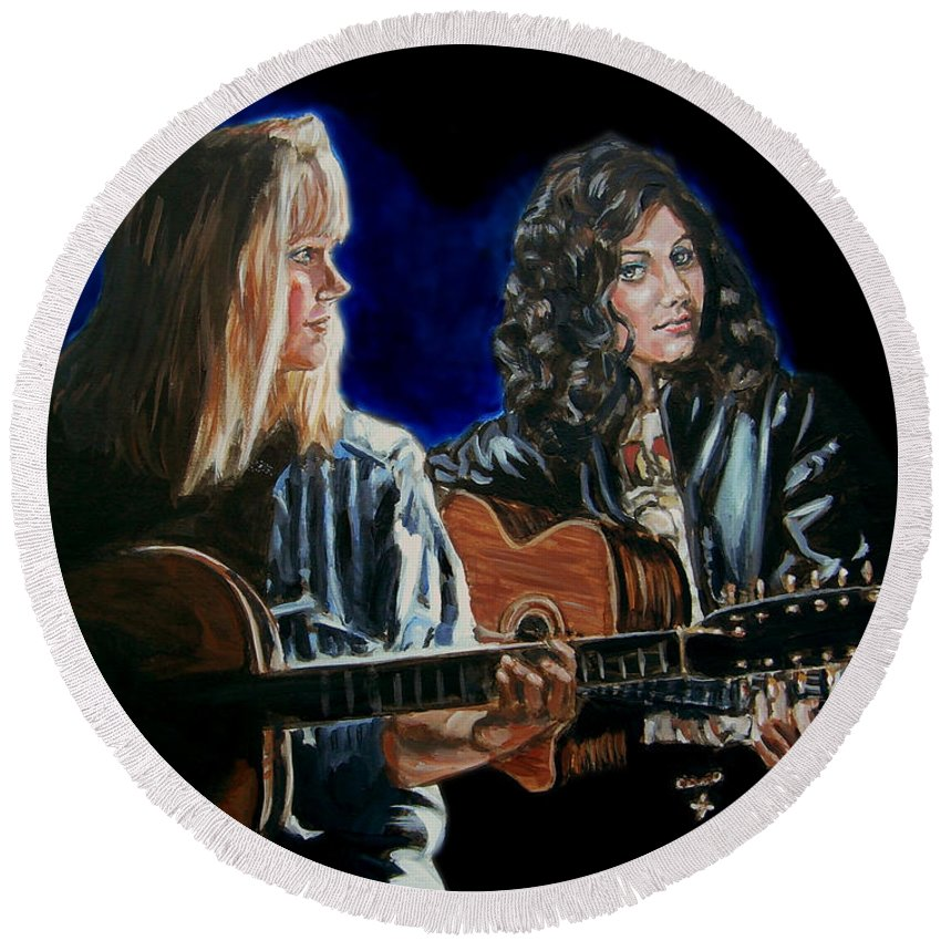 Katie Melua Round Beach Towel featuring the painting Eva Cassidy And Katie Melua by Bryan Bustard