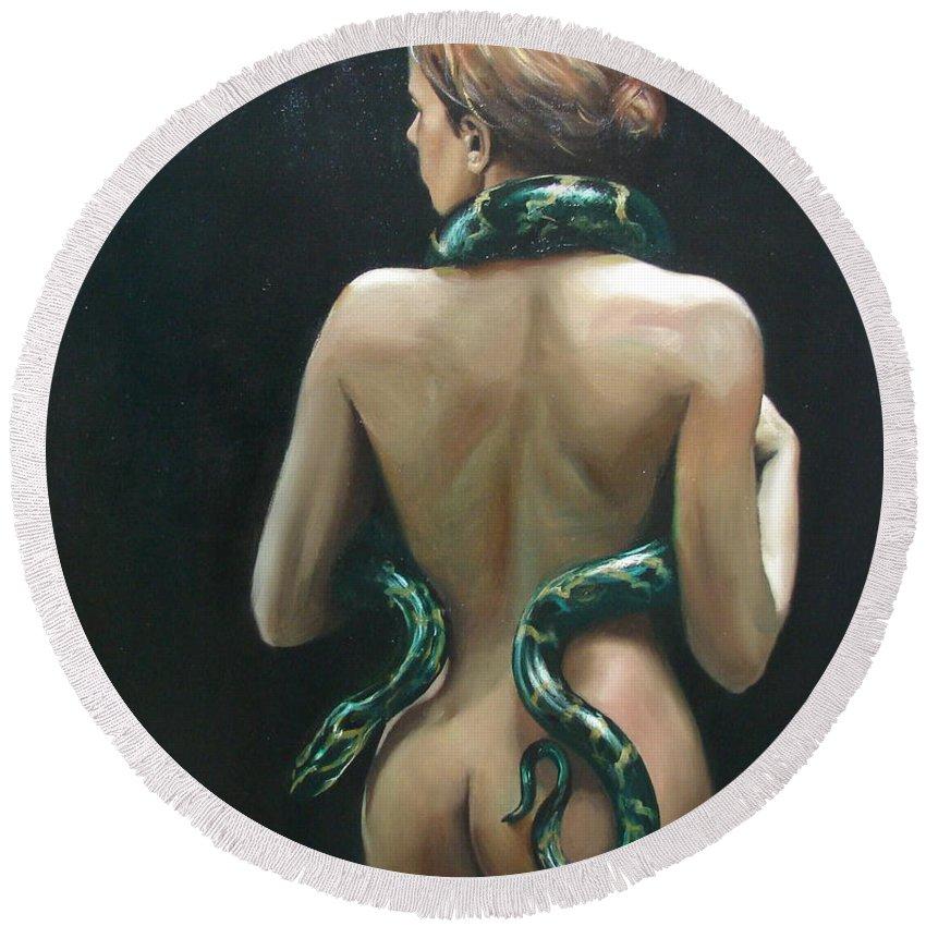Ignatenko Round Beach Towel featuring the painting Eva2 by Sergey Ignatenko