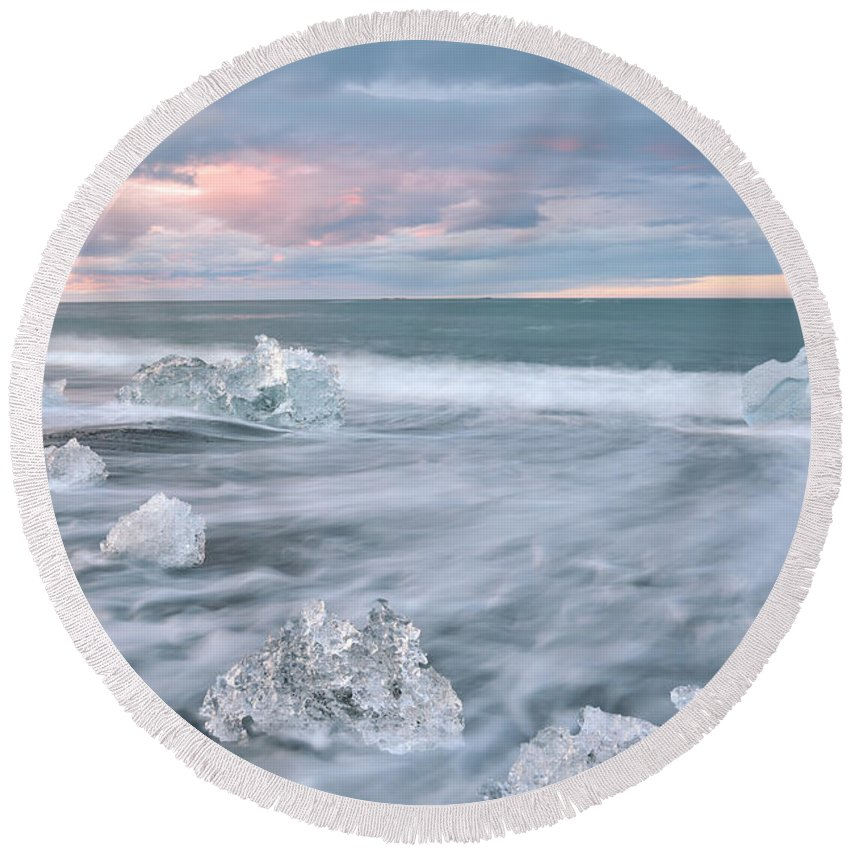 Iceland Round Beach Towel featuring the photograph Evanescence Of Jokulsarlon by Dustin LeFevre