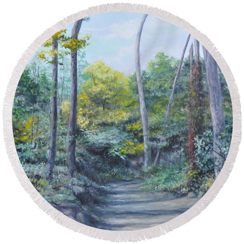 Oil Painting Round Beach Towel featuring the painting Even The Trees Praise by Penny Neimiller