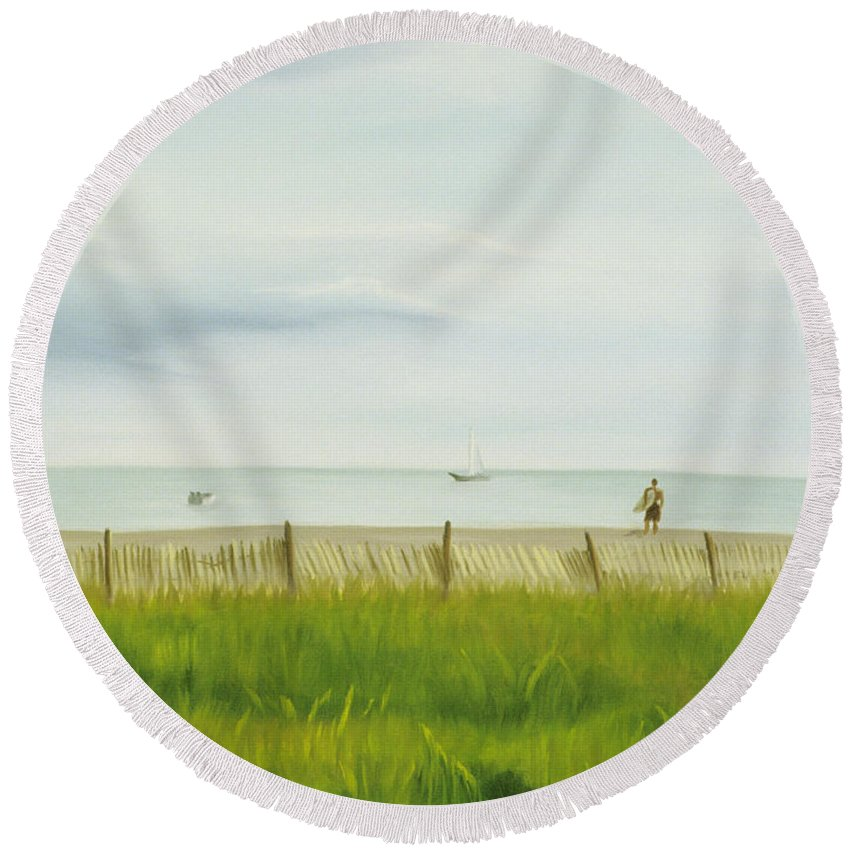 Seascape Round Beach Towel featuring the painting Evening At Cape May by Lea Novak