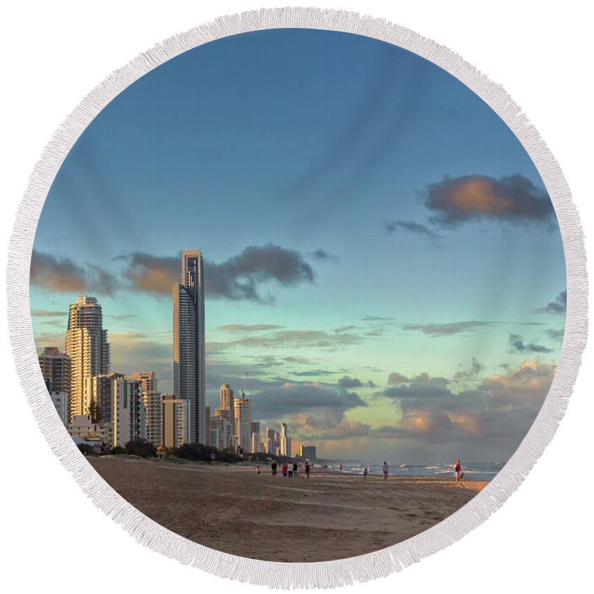 Australia Round Beach Towel featuring the photograph Evening At The Gold Coast by Jukka Heinovirta