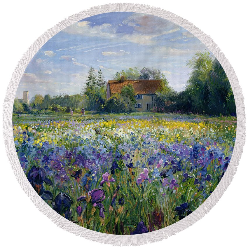 Landscape; Market Gardening; Flowers; Horticulture;cottage; Summer; Rural; Irises; Landscapes Round Beach Towel featuring the painting Evening At The Iris Field by Timothy Easton