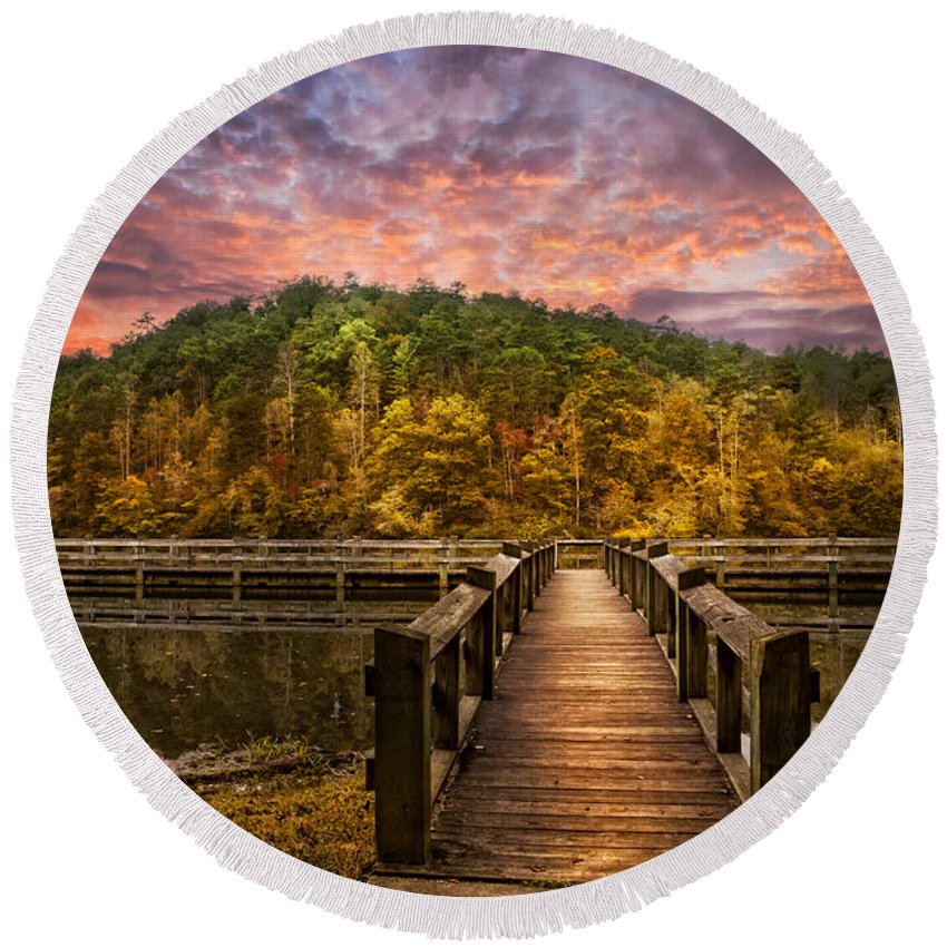 Appalachia Round Beach Towel featuring the photograph Evening At The Lake by Debra and Dave Vanderlaan