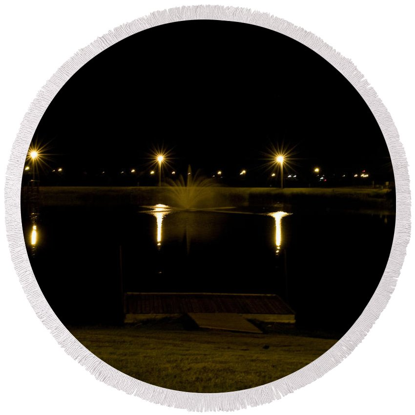 Places Round Beach Towel featuring the photograph Evening At The Ole' Fishin' Hole by Keith Birmingham