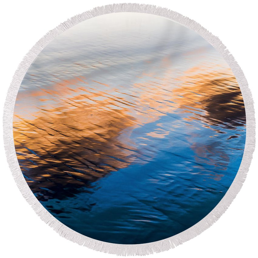 Beach Round Beach Towel featuring the photograph Evening Clouds by Robert Potts