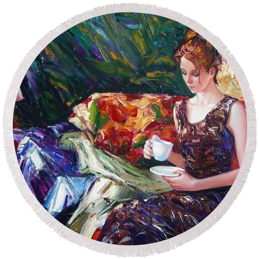 Figurative Round Beach Towel featuring the painting Evening Coffee by Sergey Ignatenko