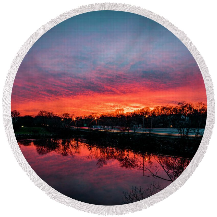 Sunset Round Beach Towel featuring the photograph Evening Commute by Michael Baranowski