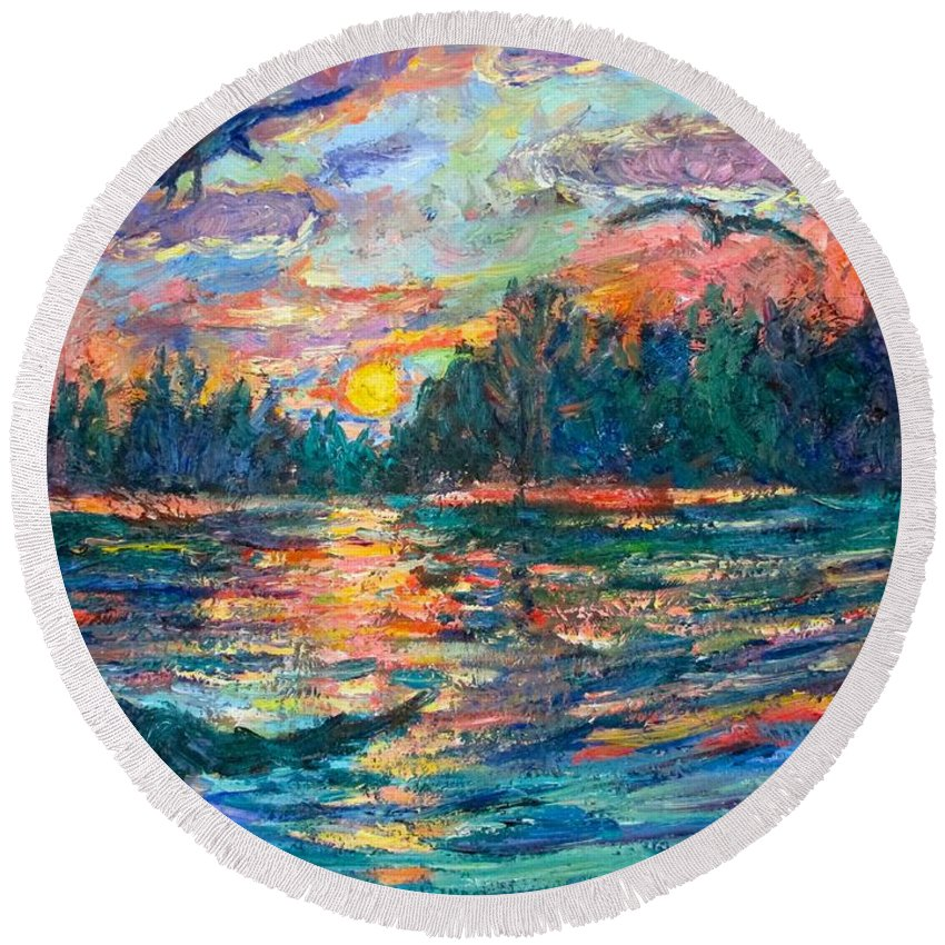 Landscape Round Beach Towel featuring the painting Evening Flight by Kendall Kessler
