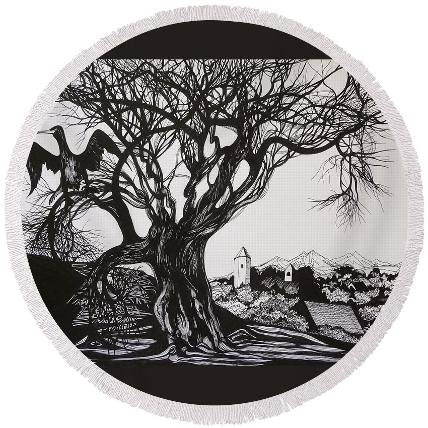 Pen And Ink Round Beach Towel featuring the drawing Evening In Midnapore by Anna Duyunova