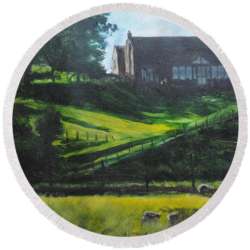 Landscape Round Beach Towel featuring the painting Evening In North Wales by Harry Robertson
