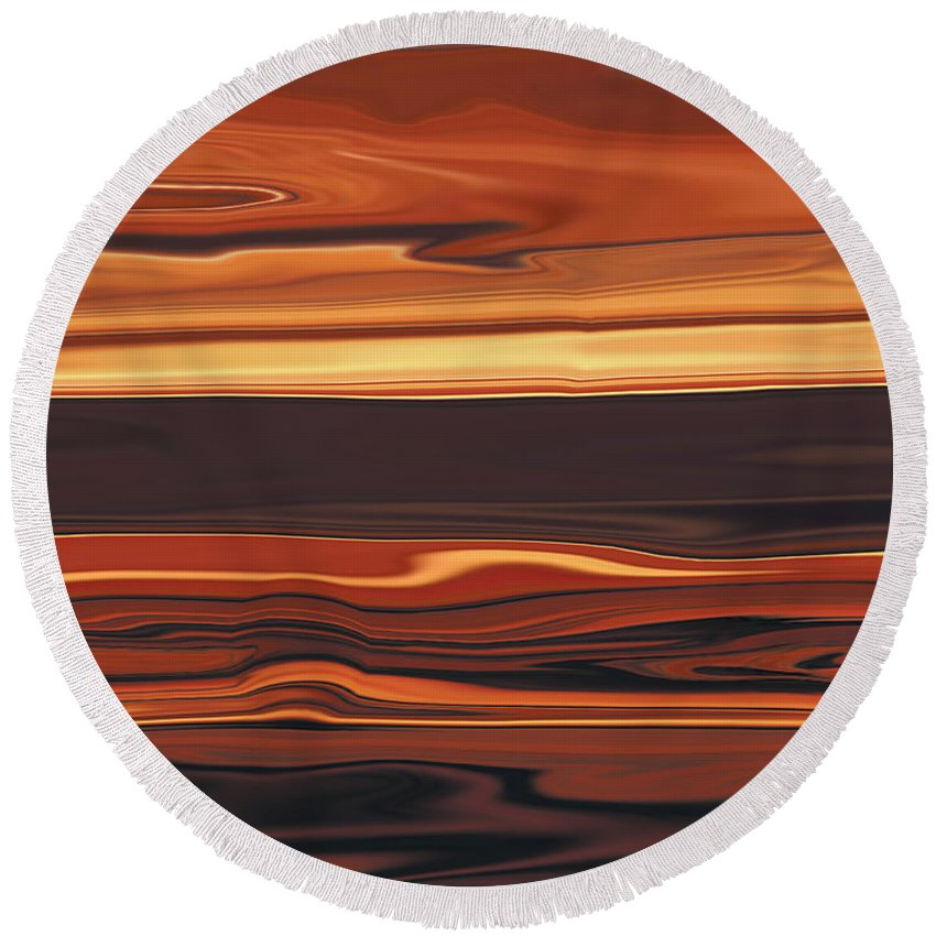 Abstract Round Beach Towel featuring the digital art Evening In Ottawa Valley 1 by Rabi Khan