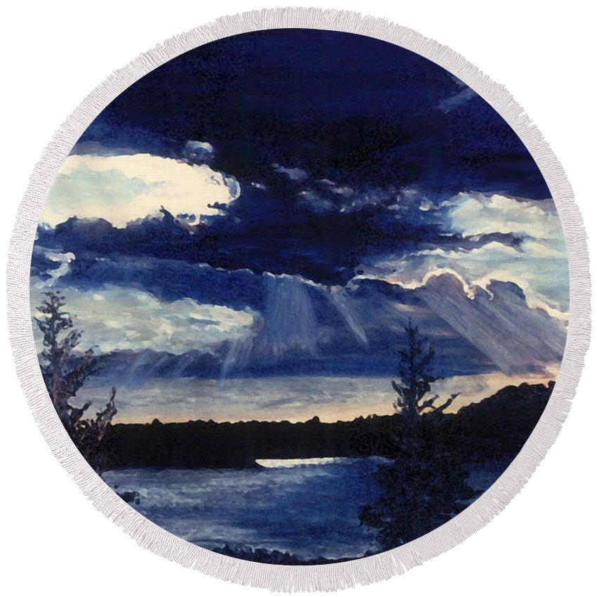 Landscape Round Beach Towel featuring the painting Evening Lake by Steve Karol