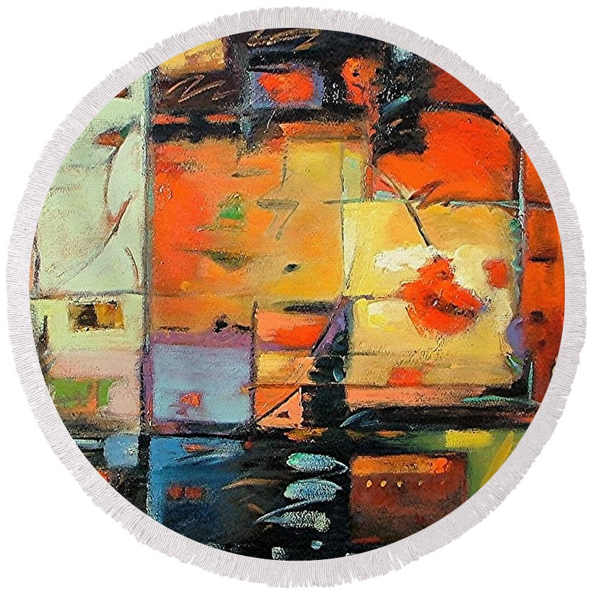 Abstract Painting Round Beach Towel featuring the painting Evening Light by Gary Coleman