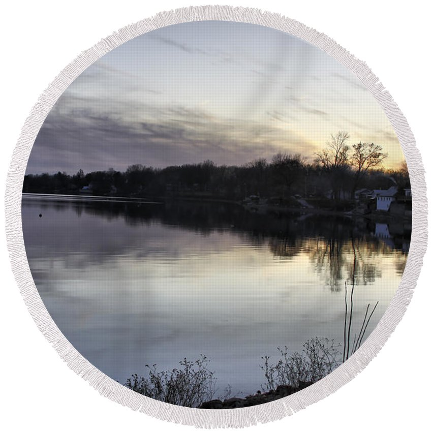 Lake Champlain Round Beach Towel featuring the photograph Evening Light On Lake Champlain by Deborah Benoit