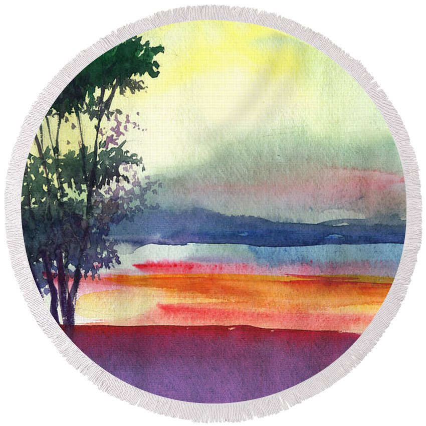 Water Color Round Beach Towel featuring the painting Evening Lights by Anil Nene